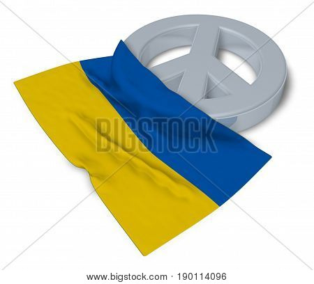 peace symbol and flag of ukraine - 3d rendering