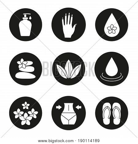 Spa salon icons set. Aroma oil drops, cream, woman's hand with manicure, stones massage, loose leaves, flowers, weight loss, flip flops. Vector white silhouettes illustrations in black circles