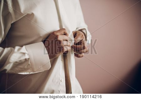 Groom Putting On Shirt, Dressing Up In The Morning, Getting Ready
