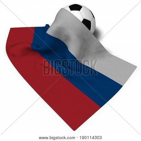 soccer ball and flag of russia - 3d rendering