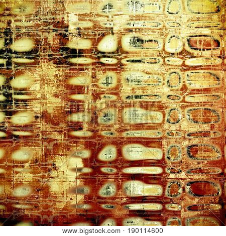 Oldest vintage background in grunge style. Ancient texture with different color patterns: yellow (beige); brown; red (orange); black; white