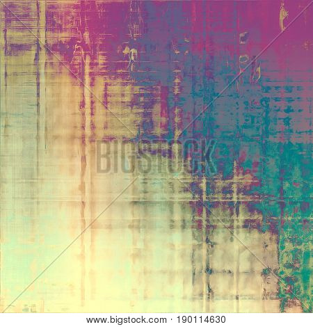 Vintage style designed background, scratched grungy texture with different color patterns: blue; yellow (beige); green; gray; purple (violet); pink