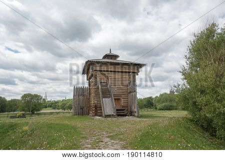 Moscow, Russia - June, 4, 2017: Tower Of Bratsk Stockaded Fort.
