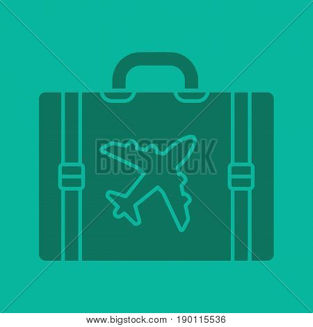 Travel luggage suitcase glyph color icon. Silhouette symbol. Suitcase with airplane. Negative space. Vector isolated illustration