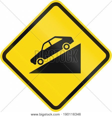 Steep Descent Warning Road Sign In Brazil