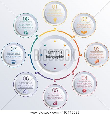 Vector template for infographic diagram with 8 options circles.
