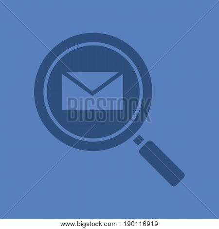 Email search glyph color icon. Silhouette symbol. Magnifying glass with email letter. Negative space. Vector isolated illustration