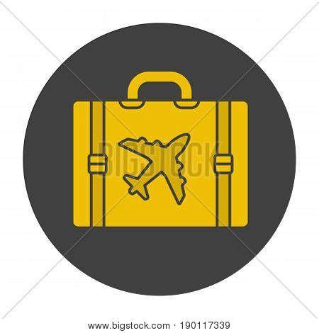 Travel luggage suitcase glyph color icon. Suitcase with airplane. Silhouette symbol on black background. Negative space. Vector illustration