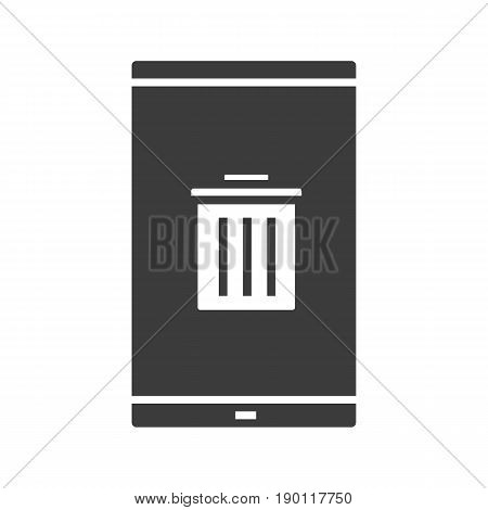 Smartphone data delete glyph icon. Silhouette symbol. Smart phone with trash. Negative space. Vector isolated illustration