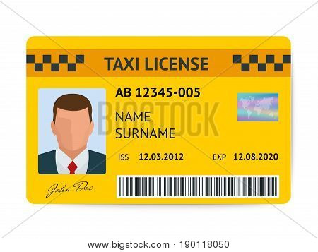 Taxi license symbol vector illustration. Document taxi driver isolated on white background