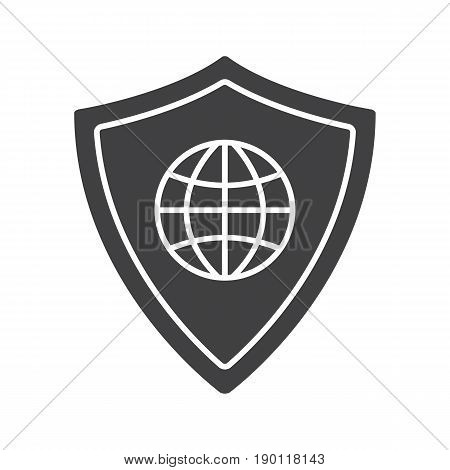 Network security glyph icon. Antivirus program silhouette symbol. Globe model inside protection shield. Negative space. Vector isolated illustration