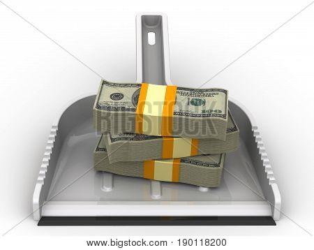 Money like garbage. Financial concept of devaluation. Scoop lies on a white surface with packs of US dollars. Isolated. 3D Illustration