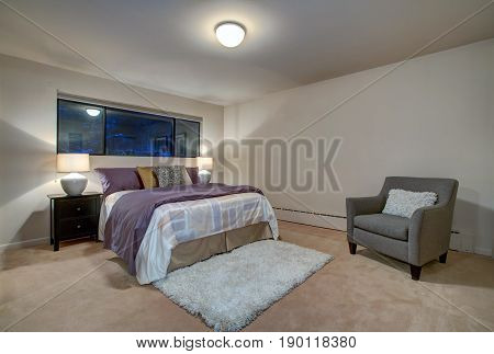 Peach Bedroom Interior With Queen Size Bed