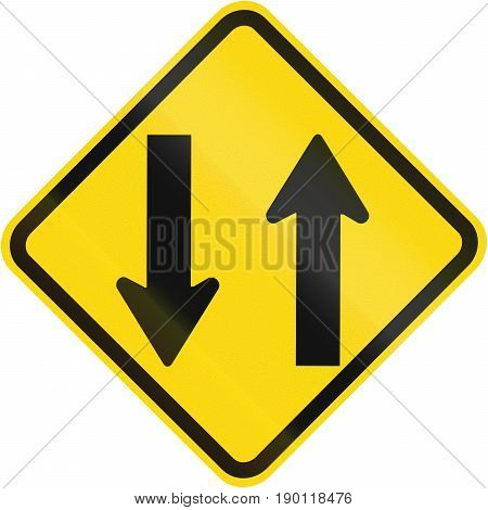 Opposing Traffic Warning Sign Used In Brazil