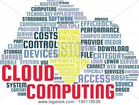 Cloud Computing Word Cloud Text Illustration in shape of a Cloud. Data Storage keyword tags isolated vector. Transparent.