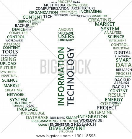 Information Technology Word Cloud Text Illustration in shape of a Circle. Technology related keyword tags isolated vector. Transparent.