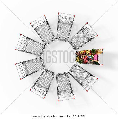 Full Shopping Cart Among Empty Shopping Carts. 3D Illustration.