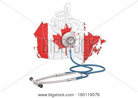 Canadian map with stethoscope national health care concept 3D rendering