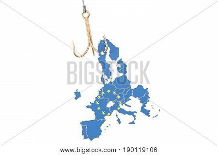 Fishing hook with map of EU 3D rendering isolated on white background