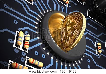 Putting Bitcoin Into Coin Slot On The Motherboard And Creating Heart Shape With Reflection. 3D Illustration.