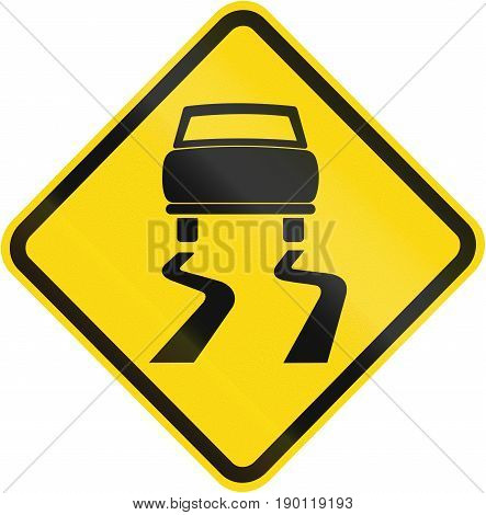 Road Sign Used In Brazil - Slippery Road Surface