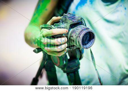 Detail of dirty dslr camera. Equipment mistreat.
