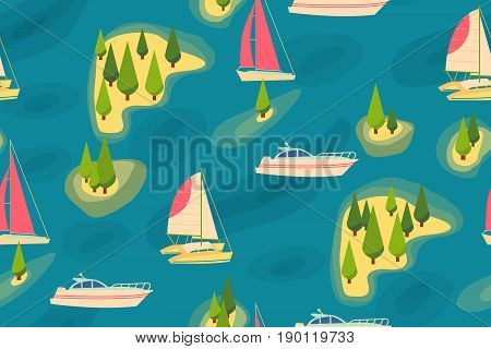 Seamless pattern retro tourist Boats at sea, view from the shore or from above Summer vacation trips Vector illustration Texture for scrapbooking wrapping skin website wallpaper surface design fashion