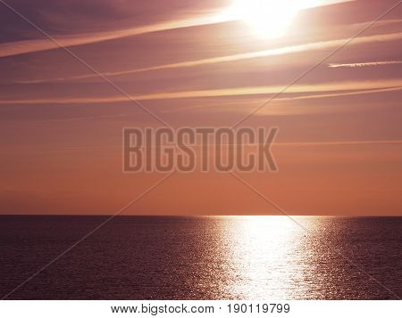 Sundown with reflections at the Baltic sea in Germany using as natural background