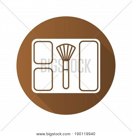 Blusher flat design long shadow icon. Blusher box with brush. Vector silhouette symbol