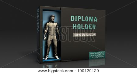 Diploma Holder Employment Problem and Workplace Issues 3D Illustration Render