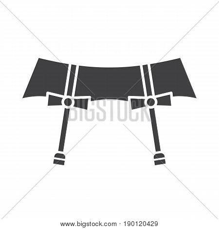 Underwear garters glyph icon. Silhouette symbol. Negative space. Vector isolated illustration