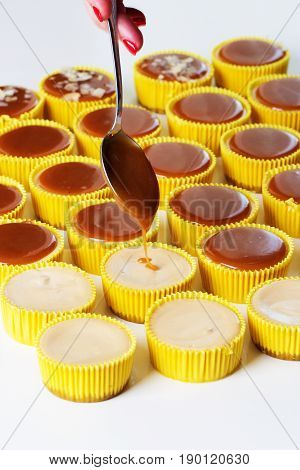 Caramel cake decoration process. Delicious homemade Flan dessert or creme caramel dessert . Fresh and tasty caramel cheesecake