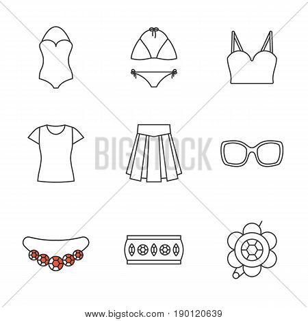 Women's accessories linear icons set. Clothes and jewelry. Swimsuits, top, t-shirt, skirt, sunglasses, bracelet, brooch, necklace. Thin line contour symbols. Isolated vector illustrations