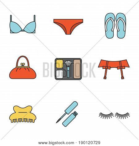 Women's accessories color icons set. Underwear garters, bra and panties, flip flops, purse, blusher, claw hair clip, eyelashes, lip gloss. Isolated vector illustrations