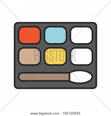 Eye shadows color icon. Eye shadows box with brush. Isolated vector illustration