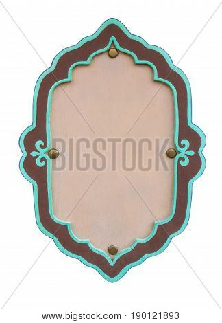 Green wooden blank frame signage isolated on white