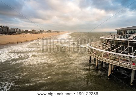 High angle view of the beach of The Hague. Summer at sunset. Space for copy