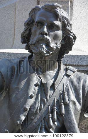 MONTREAL QUEBEC CANADA 05 17 17: Details of monument of Paul de Chomedey, sieur de Maisonneuve first governor of Montreal.