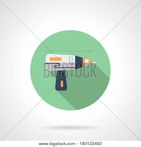 Symbol of cordless drill, long shadow. Electric drilling tool for metalworking. Round flat design vector icon.