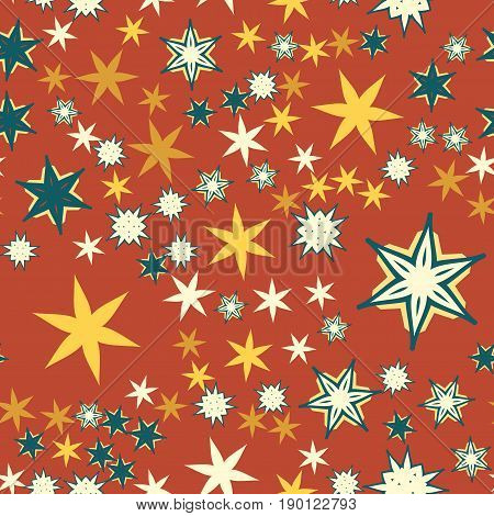 Vintage red Seamless texture with stylized flowers and stars.