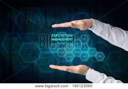 Reputation Management concept. Protecting gesture of businessman and symbol of a chart with related keywords over business background.