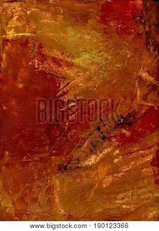 Imitation of plaster on paper. Aged red and orange wall texture. Red plaster wall with dirty background. Old brickwall with peel grey stucco texture. Decayed cracked rough abstract surface. Retro vintage. Terracotta