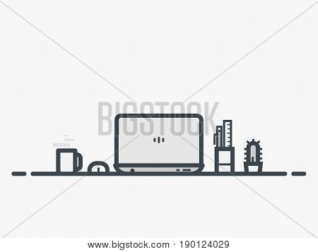Workspace of web designer or programmer with laptop. Flat style line vector. Laptop with cactus and pen with ruler. Thin line modern style vector illustration. Working with notebook.