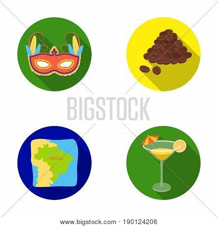 Brazil, country, mask, carnival . Brazil country set collection icons in flat style vector symbol stock illustration .