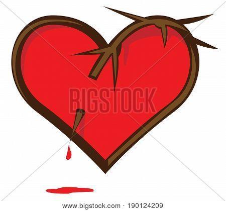 Broken Heart. Heart pierced vine. Bloody heart.