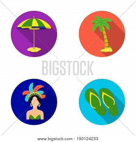 Brazil, country, umbrella, beach . Brazil country set collection icons in flat style vector symbol stock illustration .