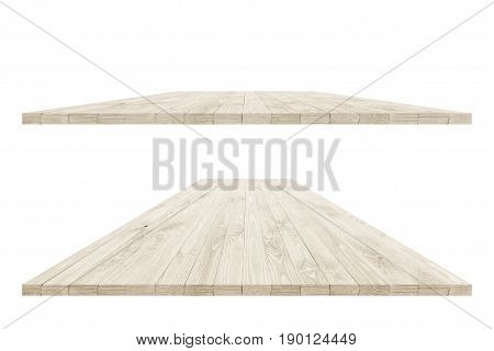 Two empty wood table perspective with clipping pass. Wood table perspective for design. Wood table surface. Rustic wood table perspective. Large dinner empty wood table perspective with clipping path. Wood table texture background. Wood table worktop.
