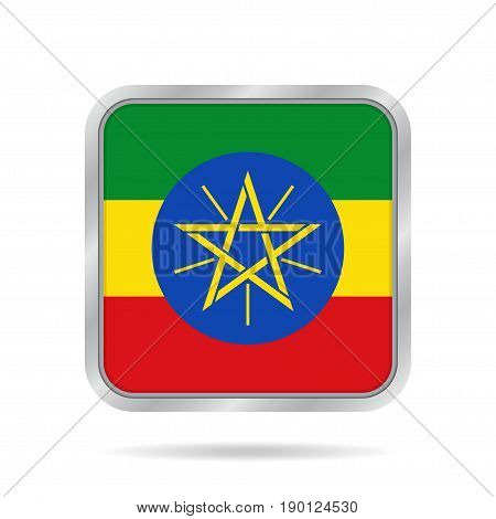 National flag of Ethiopia. Shiny metallic gray square button with shadow.