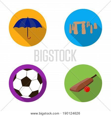 Umbrella, stone, ball, cricket .England country set collection icons in flat style vector symbol stock illustration .
