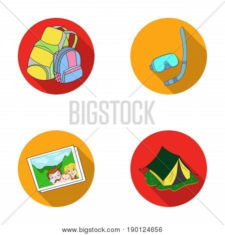 Travel, vacation, backpack, luggage .Family holiday set collection icons in flat style vector symbol stock illustration .